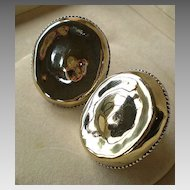 Large Sterling Clip-On Earrings; Signed M.H.