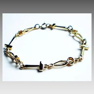 Gold-tone Bracelet/Anklet with Pliers and Hammer Links