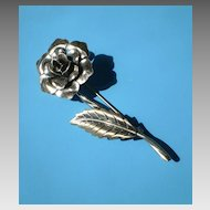 Sterling Silver Rose Pin, Signed
