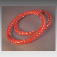 Deco-Era Glass Bangle Bracelets Red & Clear