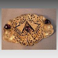 Art Nouveau Sash Pin with Purple Glass Stones
