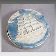 Vintage Incolay Ship Belt Buckle