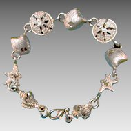 Beach Themed Bracelet, Signed Carol Star