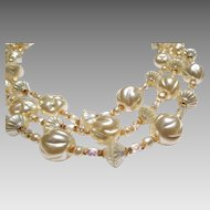 Triple Strand Glass Baroque Pearl and Crystal Necklace