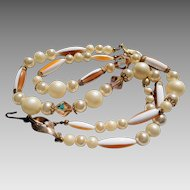 Glass and Faux Pearl Beaded Necklace