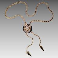 Lariat Slide Necklace with Enameled Rhinestone Slide