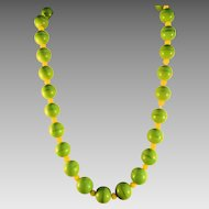 Czech Art Glass Bead Necklace, Green
