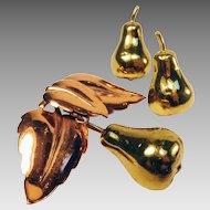 Early Copper and Brass Brooch & Earrings Set: Pears!