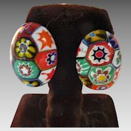 Charming Millefiore Glass Clip Earrings