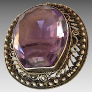 Victorian Cannetille/Filigree Brooch with Purple Horse-Shoe Shaped Stone