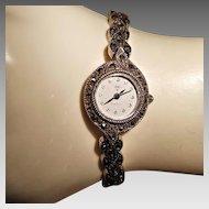 Diamond 925 Sterling Silver Marcasite Ladies Watch