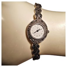 Diamond 925 Sterling Silver Marcasite Ladies Watch