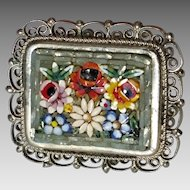 Floral Micro-mosaic Brooch with Filigree