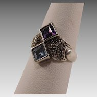 Amethyst, Blue Topaz and Marcasite Sterling Silver Ring
