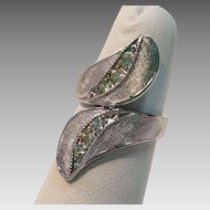 Brushed Sterling Silver Diamante By-Pass Ring, Size 3-1/2