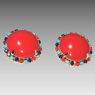Coral-Red Button Earrings, 1960s Egyptian Revival