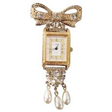 Vintage Retro Colibri Lapel Watch Pin with Rhinestones & Faux Pearls