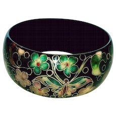 Cloisonne Bangle Bracelet with Butterfly and Flower Pattern