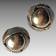 Sterling Silver Electroform Retro Earrings, Designer Signed