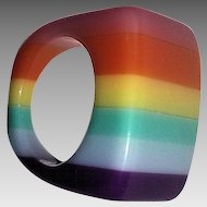 Striped Multi-Color Mod Lucite Ring
