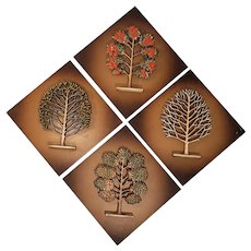 Syroco Wood Plaques Set, Mid-Century Décor