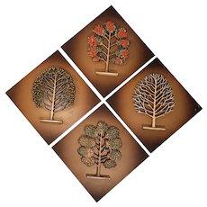 Syroco Wood Plaques Set, Mid-Century Décor