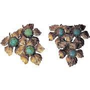 Oak Leaf and Turquoise Art Glass Dress Clips