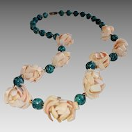 Chrysocolla Bead and Shell Necklace, Vintage