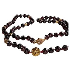 Garnet Beaded Necklace with Gilded Silver Clasp