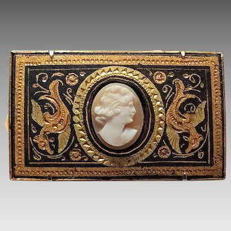 Damascene and Cameo Brooch/Pin