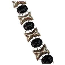 Sterling Silver and Black Onyx Bracelet, Mexico