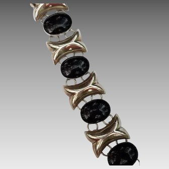 Sterling Silver and Black Onyx Bracelet, Mexico
