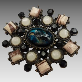 Multi-Stone Brooch with Abstract Flair