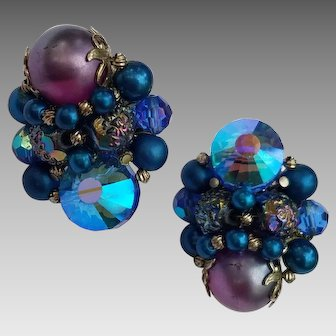 Peacock Blue Rivoli Vendome Clip Earrings