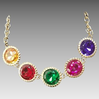 """Colorful """"Headlight"""" Jeweled Necklace"""