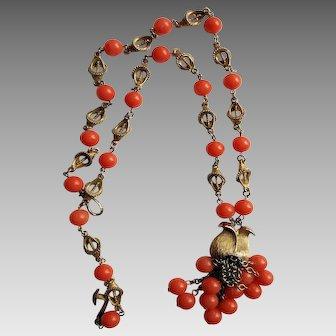 Salmon-Colored Sautoir Necklace
