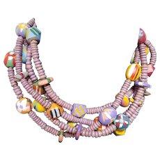 Multi-Strand, Multi-Colored Wood Bead Necklace