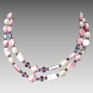 Two-Strand Pink, Purple, and White Beaded Necklace