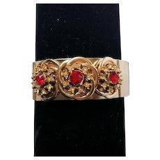 Red and White Rhinestone Clamper/Cuff Bracelet