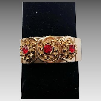 Red and White Rhinestone Clamper/Cuff Bracelet