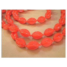 Extra-Long Lucite Beaded Necklace – Tomato Red - Red Tag Sale Item