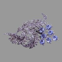 Early BOUCHER Pin with Blue Crystals