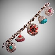 Chunky CHARM Bracelet with Red and Green Cabochons
