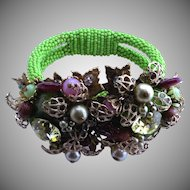 DeMario Beaded Bracelet with Art Glass 1940's