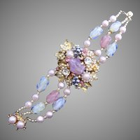 1940's DeMario Layered Bracelet with Art Glass #1