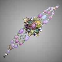 1940's DeMario Layered Bracelet with Art Glass #3