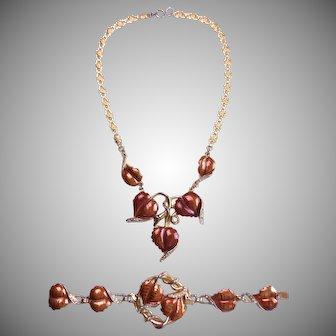 DEROSA Enameled 1940's Necklace and Bracelet