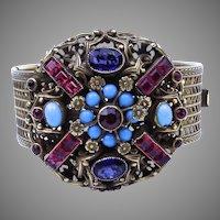 Early Coro Bracelet with Bezel Set Colorful Glass Stones