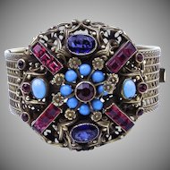 Early Coro Bracelet with Bezel Set Colorful Glass Stones
