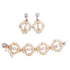 Unusual HASKELL Pearl Bracelet and Earrings